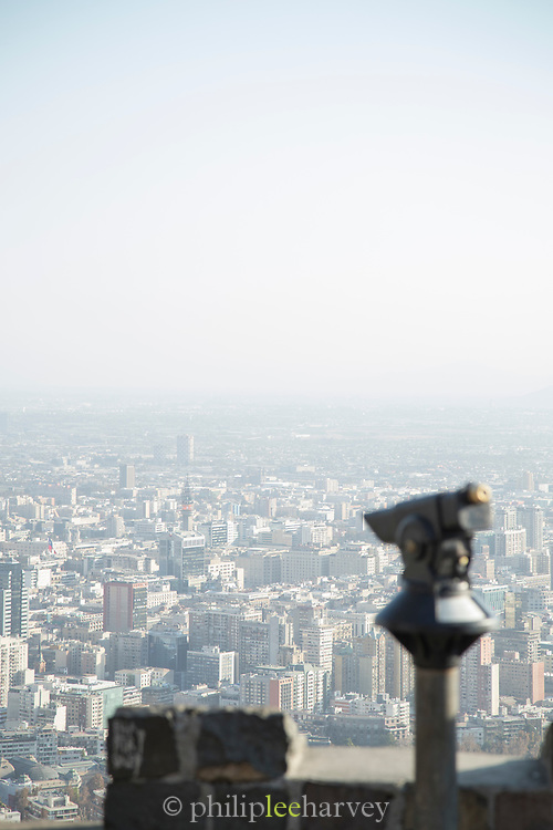 View from San Cristobal Hill, city and horizon, Santiago, Chile