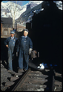 RGS Fireman Nash and Engineer Quist standing by #455 in Telluride yard.<br /> RGS  Telluride, CO  Taken by August, Irving - 4/15/1949<br /> Same as RDS078-080.<br /> Thanks to Don Bergman for additional information.
