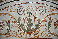 Picture of a Roman mosaics design depicting a geometric tendril designs from a Dionysus mosaic. The ancient Roman city of Thysdrus. 2nd century AD. El Djem Archaeological Museum, El Djem, Tunisia. .<br /> <br /> If you prefer to buy from our ALAMY PHOTO LIBRARY Collection visit : https://www.alamy.com/portfolio/paul-williams-funkystock/roman-mosaic.html . Type - El Djem - into the LOWER SEARCH WITHIN GALLERY box. Refine search by adding background colour, place, museum etc<br /> <br /> Visit our ROMAN MOSAIC PHOTO COLLECTIONS for more photos to download as wall art prints https://funkystock.photoshelter.com/gallery-collection/Roman-Mosaics-Art-Pictures-Images/C0000LcfNel7FpLI