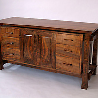 Media credenza<br /> Walnut and ebony<br /> Custom design and handcrafted for clients in Hamden, Ct.