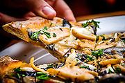 Flat Bread — Chicken Marsala with portabella mushrooms, fresh shallots and mozzarella. <br /> (Photo/Artisan Image, Inc.)