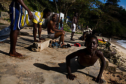 On the beach at Boston Bay, a popular site where Jamaican jerk seasoning was said to have been invented, near the Geejam, a luxury boutique hotel with a state of the art recording studio that has attracted famous musicians to make their albums.