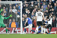 GOAL 1-0 Fulham defender Denis Odoi (4) scores during The FA Cup 3rd round match between Fulham and Oldham Athletic at Craven Cottage, London, England on 6 January 2019.