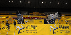 28-10-2010 VOLLEYBAL: WORLD CHAMPIONSHIP: TRAINING GROUP B: HAMAMATSU<br /> The first day training of group B in the Hamamatsu Arena / The broadcaster   is ready for WC <br /> ©2010-WWW.FOTOHOOGENDOORN.NL