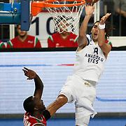 Anadolu Efes's Sasha Vujacıc (R) during their Turkish Basketball League match Anadolu Efes between Pinar Karsiyaka at Arena in Istanbul, Turkey, Saturday, November 26, 2011. Photo by TURKPIX