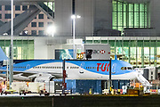 "An aircraft of ""TUi"" Travel Company is seen parked up in London Gatwick Airport on Monday, July 27, 2020. Tui announced it will close its 166 high street stores across the UK and Ireland amid business crisis as a consequence of global lockdown due to Coronavirus Pandemic outbreak. (VXP Photo/ Vudi Xhymshiti)"