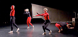 Julie Cunningham and Company<br /> Double Bill<br /> at The Pitt, Barbican Theatre, London, Great Britain <br /> 8th March 2017 <br /> <br /> Julie Cunningham - in foreground <br /> Harry Alexander<br /> Alexander Williams<br /> Hannah Burfield<br />  <br /> Award-winning dancer and nominee of the 2016 Critics' Circle National Dance Award for Emerging Artist, Julie Cunningham launches her newly formed company, and makes her Barbican choreographic debut with an expressive double bill about gender and identity.<br />  <br /> <br /> Piece 2: To Be Me <br /> <br /> <br /> Photograph by Elliott Franks <br /> Image licensed to Elliott Franks Photography Services