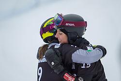 Cheyenne Loch (GER), Nadya Ochner (ITA), celebrates during Final Run at Parallel Giant Slalom at FIS Snowboard World Cup Rogla 2019, on January 19, 2019 at Course Jasa, Rogla, Slovenia. Photo byJurij Vodusek / Sportida