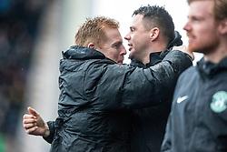 Hibernian's manager Neil Lennon after Kris Commons scored their second goal. Falkirk 1 v 2 Hibernian, Scottish Championship game played 31/12/2016 at The Falkirk Stadium .