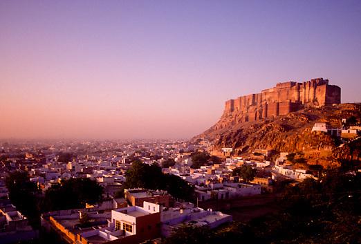 Jodhpur Fort overlooking city of Jodhpur in Rajasthan India