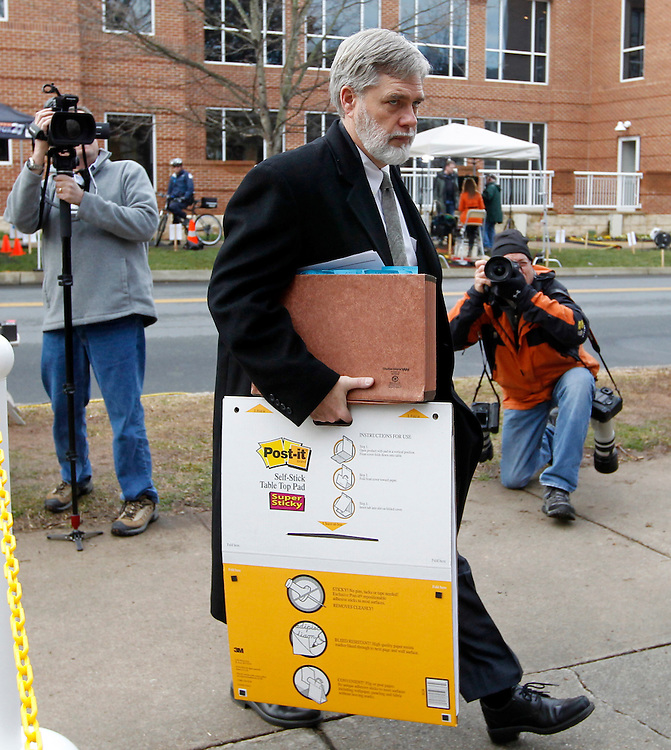 CHARLOTTESVILLE, VA - FEBRUARY 17:  Commonwealth attorneys Dave Chapman walks to the Charlottesville Circuit courthouse for the George Huguely trial. Huguely was charged in the May 2010 death of his girlfriend Yeardley Love. She was a member of the Virginia women's lacrosse team. Huguely pleaded not guilty to first-degree murder. (Credit Image: © Andrew Shurtleff