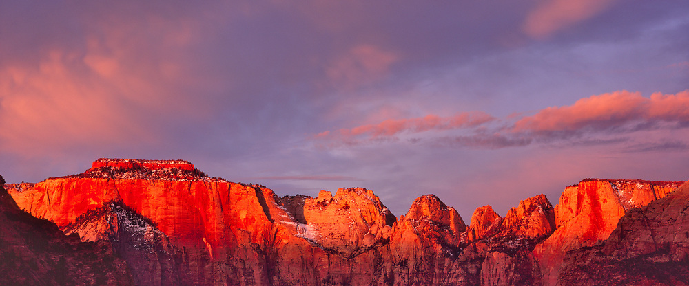 The West Temple and Towers of the Virgin at Dawn, Zion National Park, Utah