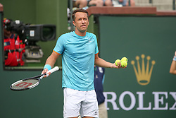 March 9, 2019 - Indian Wells, CA, U.S. - INDIAN WELLS, CA - MARCH 09: Philipp Kohlschreiber (GER) questions the chair umpire during the BNP Paribas Open on March 9, 2019 at Indian Wells Tennis Garden in Indian Wells, CA. (Photo by George Walker/Icon Sportswire) (Credit Image: © George Walker/Icon SMI via ZUMA Press)