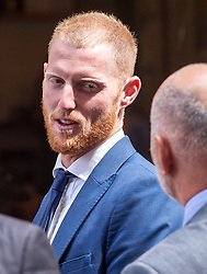 © Licensed to London News Pictures. 10/08/2018. Bristol, UK. BEN STOKES leaves Bristol Crown court at lunchtime today for the fourth day of his trial on charges of affray that relate to a fight outside a Bristol nightclub on September 25 2017. England cricketer Ben Stokes and two other men, Ryan Ali, 28, and Ryan Hale, 27, all deny the charge. Stokes, Ali and Hale are jointly charged with affray in the Clifton Triangle area of Bristol on September 25 last year, several hours after England had played a one-day international against the West Indies in the city. A 27-year-old man allegedly suffered a fractured eye socket in the incident. Photo credit: Simon Chapman/LNP