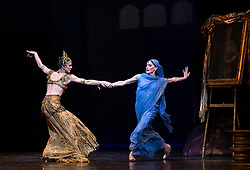 La Bayadere <br /> A ballet in three acts <br /> Choreography by Natalia Makarova <br /> After Marius Petipa <br /> The Royal Ballet <br /> At The Royal Opera House, Covent Garden, London, Great Britain <br /> General Rehearsal <br /> 30th October 2018 <br /> <br /> STRICT EMBARGO ON PICTURES UNTIL 2230HRS ON THURSDAY 1ST NOVEMBER 2018 <br /> <br /> Marianela Nunez as Nikiya <br /> A Bayadere and a temple dancer <br /> <br /> <br /> Natalia Osipova as Gamzatti <br /> <br /> <br /> Photograph by Elliott Franks Royal Ballet's Live Cinema Season - La Bayadere is being screened in cinemas around the world on Tuesday 13th November 2018 <br /> --------------------------------------------------------------------