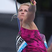 Madara Palameika, Latvia, in action during the Women's Javelin throw during the Diamond League Adidas Grand Prix at Icahn Stadium, Randall's Island, Manhattan, New York, USA. 14th June 2014. Photo Tim Clayton