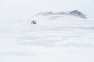Small pseudo craters in the lake Myvatn area on a white and cloudy tay in wintertime, Iceland