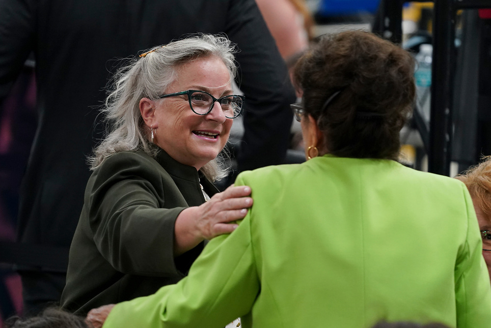 Pennsylvania congresswoman Susan Wild (PA-7), talks as attendees gather for an appearance by President Joe Biden on July 28, 2021, following a tour of Mack Trucks Lehigh Valley Operations in Lower Macungie Township, Pennsylvania. The presidential visit was made to highlight the importance of American manufacturing, buying products made in America, and supporting good-paying jobs for American workers. (Photo by Matt Smith)