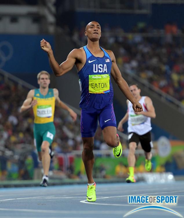Aug 17, 2016; Rio de Janeiro, Brazil; Ashton Eaton (USA) during the men's decathlon 400m in the Rio 2016 Summer Olympic Games at Estadio Olimpico Joao Havelange.