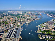 Nederland, Noord-Holland, Gemeente Amsterdam; 02-09-2020;  overzicht Amsterdam IJ-oever, met links Amsterdam CS, Westerdoksdijk en Houthavens. Rechts Overhoeks met Sixhaven, A'dam Toren (A'dam Lookout), Eye. Foto richting Westpoort, Westelijk havengebied, met Noordzeekanaal. Door het zeer heldere weer zijn ook IJmuiden aan de verre horizon en de Noordzee te onderscheiden.<br /> Overview Amsterdam banks of river IJ, with on the left Amsterdam Central Station, Westerdoksdijk and Houthavens. Right Overhoeks with Sixhaven, A'dam Toren (A'dam Lookout), Eye. Photo in the direction of Westpoort, Western harbor area, with North Sea Canal. Due to the very clear weather, IJmuiden on the distant horizon and the North Sea can also be distinguished.<br /> <br /> aerial photo (additional fee required)<br /> copyright © 2020 foto/photo Siebe Swart