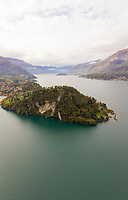 Aerial view of mountain region on a cloudy day, Cadenabbia, Italy.