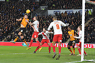 Hull City defender Harry Maguire (12) tries to head ball into goal during the Sky Bet Championship match between Hull City and Charlton Athletic at the KC Stadium, Kingston upon Hull, England on 16 January 2016. Photo by Ian Lyall.
