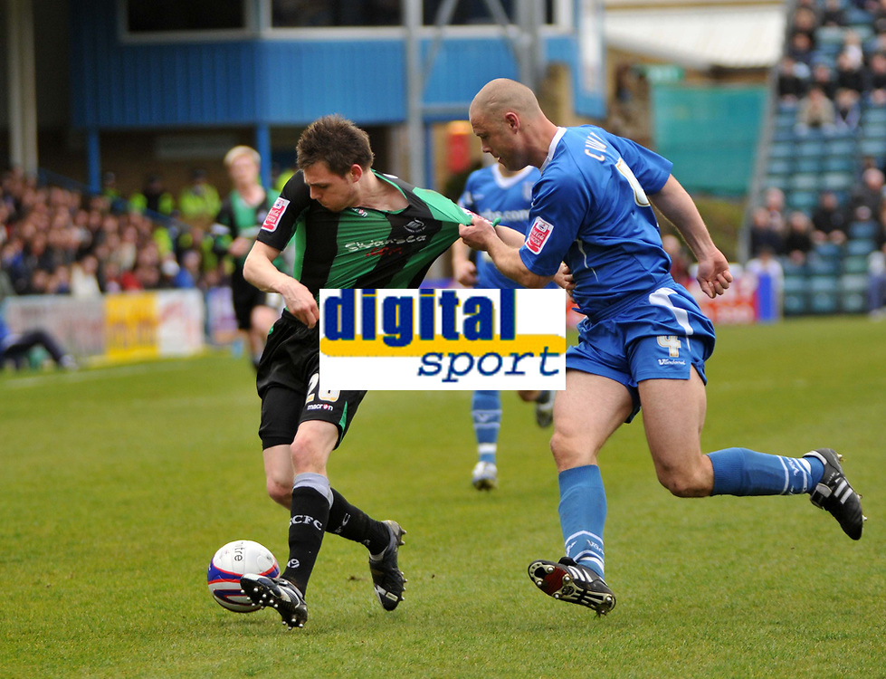 Photo: Tony Oudot/Richard Lane Photography. <br /> Gilingham Town v Swansea City. Coca-Cola League One. 12/04/2008. <br /> Paul Anderson of Swansea is held back by Danny Cullip of Gillingham