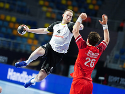 14.01.2021, 6th of October Sports Hall, Gizeh, EGY, IHF WM 2021, Österreich vs Schweiz, Herren, Gruppe E, im Bild Lenny Rubin, Lukas Herburger, // during the IHF men's World Championship group E match between Austria and Switzerland at the 6th of October Sports Hall in Gizeh, Egypt on 2021/01/14. EXPA Pictures © 2020, PhotoCredit: EXPA/ Diener/Eva Manhart<br /> <br /> *****ATTENTION - OUT of AUT and SUI*****