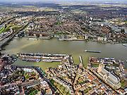 Nederland, Zuid-Holland, Dordrecht, 25-02-2020; centrum van Dordrecht met Grote Kerk (Onze-Lieve-Vrouwekerk) en zicht op de Oude Maas. Kades van de Kalkhaven, Hooikade, Maartensgat.<br /> City center Dordrecht with Grote Kerk (Onze-Lieve-Vrouwekerk) and a view of the Oude Maas.<br /> <br /> luchtfoto (toeslag op standard tarieven);<br /> aerial photo (additional fee required)<br /> copyright © 2020 foto/photo Siebe Swart
