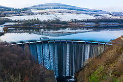 View of Castlehill Dam reservoir and spillway at Glen Devon, Scotland, UK