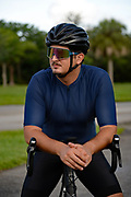 Cyclist relaxing before a ride on road bicycle
