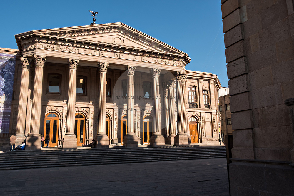 The Teatro de la Paz or Theater of Peace in the historic center on the Plaza del Carmen in the state capital of San Luis Potosi, Mexico. The building was built by the architect Jose Noriega with French influences and neoclassical style, with its facade in pink quarry in 1894.