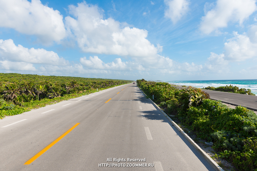 Empty Seaside Road, Cozumel, Mexico