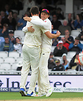 Cricket - 2017 South Africa Tour of England - Third Test, Day Two<br /> <br /> England debutant, Toby Roland - Jones celebrates his wicket during the afternoon session with captain Joe Root at The Oval.<br /> <br /> COLORSPORT/ANDREW COWIE