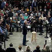 Democratic presidential candidate Joe Biden addresses supporters and potential caucus voters at a community event at the Grass Wagon Event Center in Council Bluffs, Iowa on Wednesday, January 29, 2020.