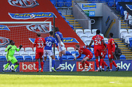 Cardiff City's Aden Flint (5) heads over the bar during the EFL Sky Bet Championship match between Cardiff City and Nottingham Forest at the Cardiff City Stadium, Cardiff, Wales on 2 April 2021.