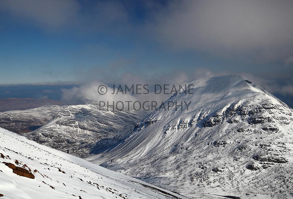 A winter view of Beinn Shiantaidh in winter, photographed from Beinn an Oir on Jura