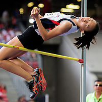 Lim En Ning (#168) of Dunman High School in action during the A Division girls' high jump final. (Photo © Eileen Chew/Red Sports)
