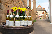 Winery shop. Bottles outside a producer's.  Domaine Michel Voarick. Aloxe-Corton village, Cote de Beaune, d'Or, Burgundy, France