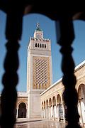 Look up towards Al-Zaytuna Mosque in Ezzitouna, Tunisia