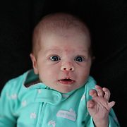 A studio portrait of a three week old baby girl. Photo Tim Clayton