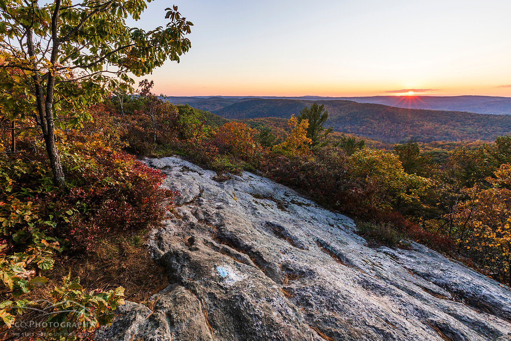 Sunset from the summit of Cobble Mountain in Kent, Connecticut. Macedonia Brook State Park.