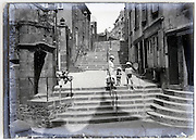 coastal village with family during summer vacation 1900s glass plate
