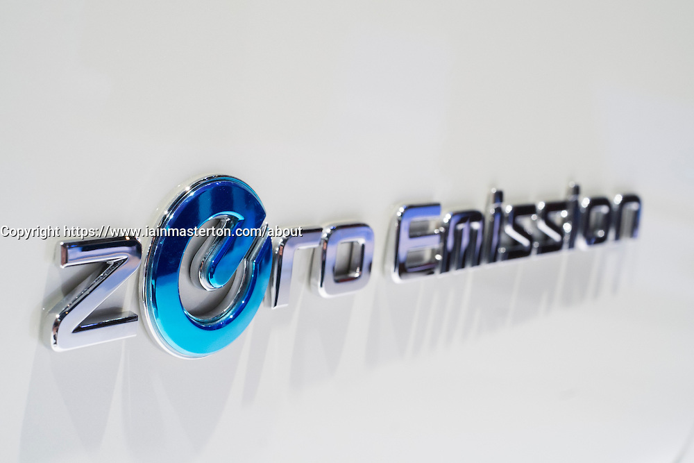 Detail of Zero Emissions badge on Nissan electric car at Paris Motor Show 2012