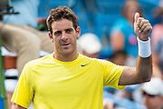 Argentina's Juan Martin Del Potro gestures to the crowd after defeating USA's Ryan Harrison in their men's singles match at the Citi Open ATP tennis tournament in Washington, DC, USA, 1 Aug 2013. Del Potro won the match 6-1,7-5 to advance.