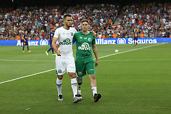 August 7, 2017 - Barcelona, Spain - Plane crash survivors Jakson Follmann (R) and Neto of Chapecoense walk on the pitch  as they just gave the kick off ahead the 2017 Joan Gamper Trophy football match between FC Barcelona and Chapecoense on August 7, 2017 at Camp Nou stadium in Barcelona, Spain. (Credit Image: © Manuel Blondeau via ZUMA Wire)