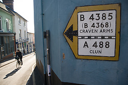 Sign to Craven Arms & Clun, Shropshire