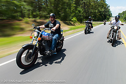 """Coast-to-coast """"Stampeder"""" Rick Lighthart takes a ride Saturday morning during the Smokeout. Rockingham, NC. USA. June 20, 2015.  Photography ©2015 Michael Lichter."""