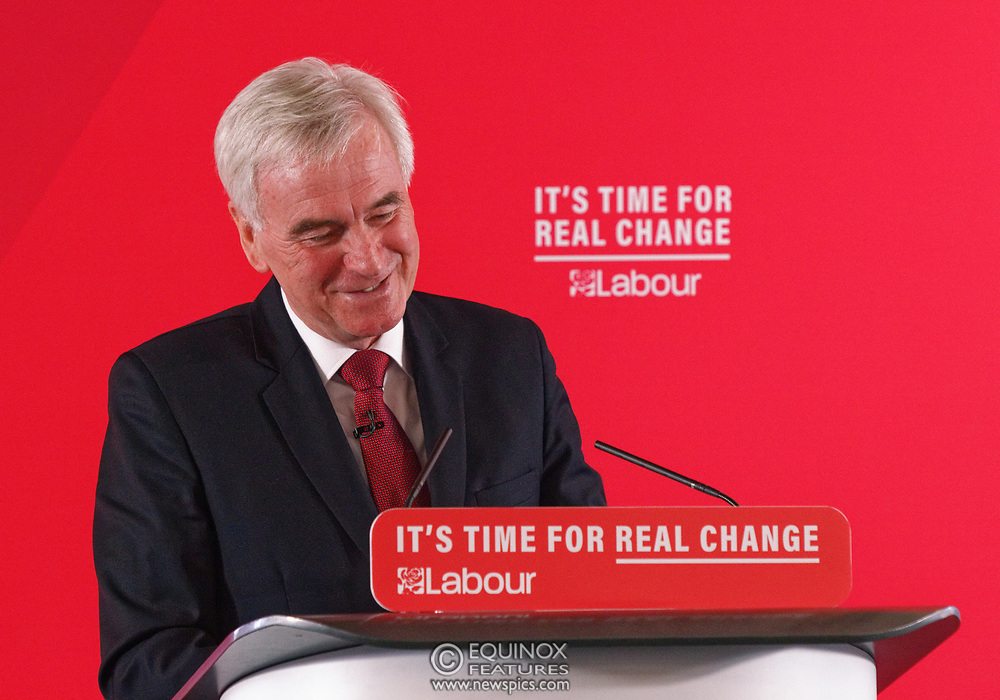 London, United Kingdom - 9 December 2019<br /> John McDonnell gives an economics speech in the run up to the general election 2019, on behalf of the Labour Party at Coin Street Community Builders, London, England, UK.<br /> (photo by: EQUINOXFEATURES.COM)<br /> Picture Data:<br /> Photographer: Equinox Features<br /> Copyright: ©2019 Equinox Licensing Ltd. +443700 780000<br /> Contact: Equinox Features<br /> Date Taken: 20191209<br /> Time Taken: 11482964<br /> www.newspics.com