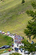 France - Sunday, Jul 20 2008: The peloton approaches the Col Agnel during the 2008 Tour de France. (Photo by Peter Horrell / http://www.peterhorrell.com)